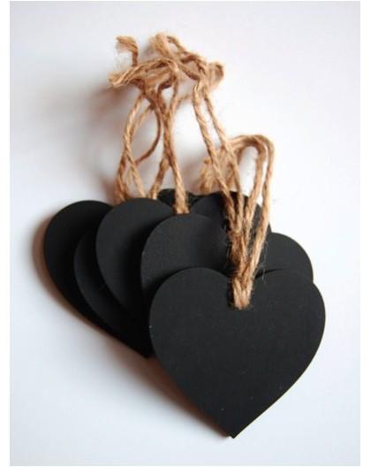 etiquetas de pizarra con corazon