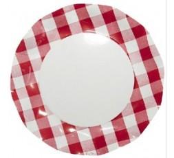 10 Platos de carton Vichy rojo