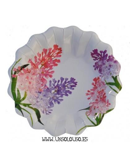 10 Platos flores Lilas