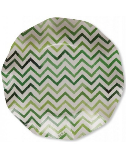 8 Platos Chevron Verde degrade
