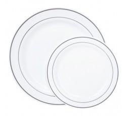 8 Platos plastico borde plata