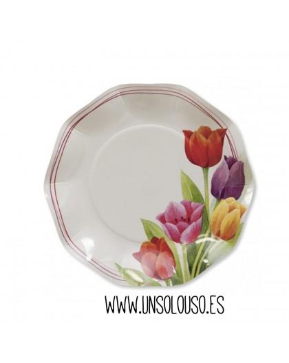 8 Platos carton Tulipanes