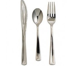10 Cucharitas de plastico plata