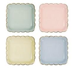 8 Platos de papel Pastel