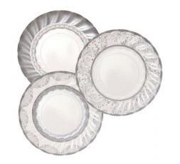 12 Platos de postre Porcelana Plata