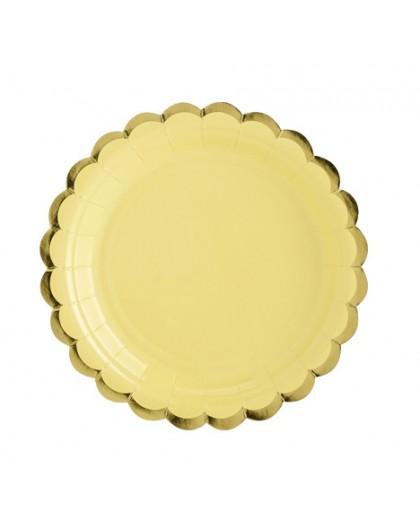 6 Platos amarillos y dorados