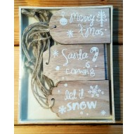 Etiquetas de madera Navidad