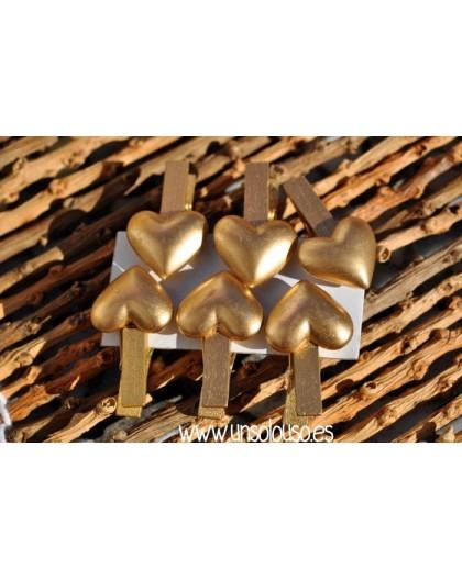 6 Pinzas Corazon oro